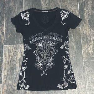 Crash & Burn Rhinestone Embellished T-shirt